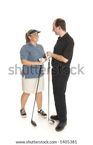 couple with golf club over white