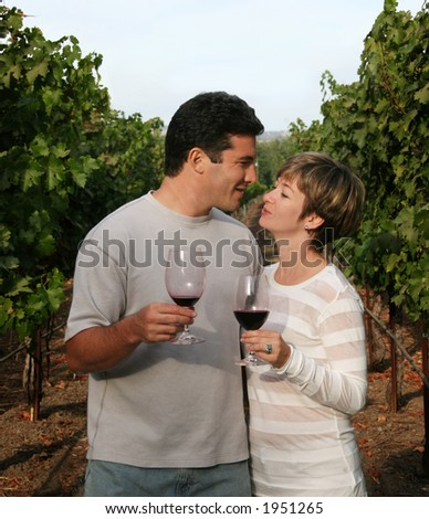 Couple with wine glasses at vineyard