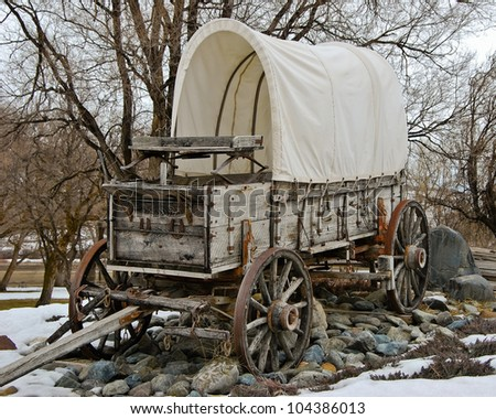 Covered Wagon Farewell Bend State Park Stock Photo