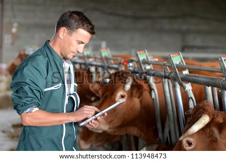 Cow breeder using touchpad inside the barn