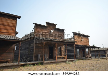 cowboy ghost town buildings in Wyoming, USA