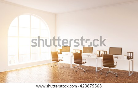 Coworking office interior with workplace, wooden floor, concrete walls and window with sunshine. 3D Rendering