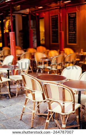 cozy cafe with chairs on the street