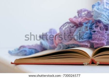 Cozy Winter Still Life: Opened Book. Warm And Comfy Autumn Or Winter  Concept.
