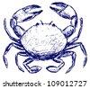 Crab sketch. Raster - stock vector