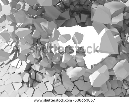 Cracked explosion white destruction surface abstract background. 3d render illustration