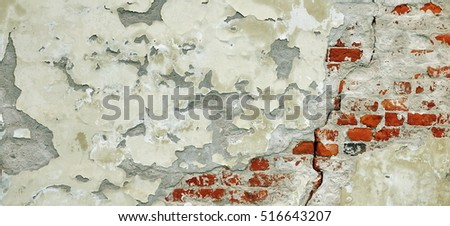 Cracked Red White Brick Wall Urban Texture. Old Red Brick Wall With Shabby Damaged White Plaster. Painted Whitewashed Brickwall Grungy Background. Stonework Grunge Empty Banner Horizontal Wallpaper.