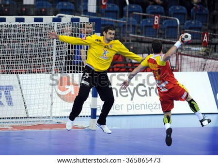 CRACOV, POLAND - JANUARY 21, 2016: Men's EHF European Handball Federation EURO 2016 Krakow Tauron Arena Macedonia - Croatia