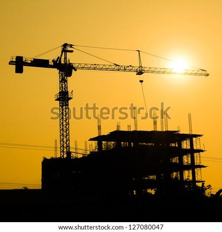 medium bridge construction site construction bridge construction site surise under stock vector