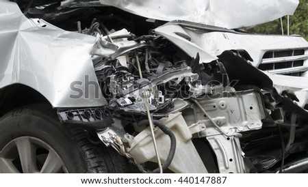 crashed car automobile from traffic collision accident