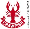 crawfish label (crawfish silhouette, crayfish icon, lobster sign, crawfish symbol) - stock vector