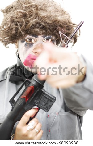 Crazed Lunatic Points Her Hand In Your Direction With A Expression Of Shock While Carrying A Rifle In A Image About Vengeance And Retribution