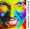 crazy color face art women portrait - stock photo