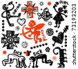 crazy doodle set, hand drawn design elements - stock vector