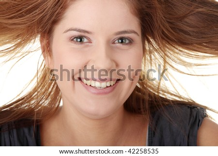 Crazy girl isolated on white background