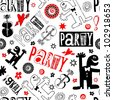 crazy party scribbles isolated on white background - stock photo
