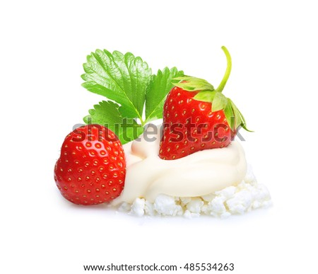 Cream and cottage cheese with berry strawberry isolated on white background.