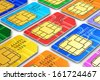 Creative abstract mobile telecommunication, wireless technology and mobility business concept: macro view of group of color SIM cards for mobile phone or smartphone isolated on white background - stock photo