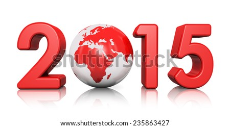Creative abstract New Year 2015 beginning celebration concept with red glossy Earth globe isolated on white background with reflection effect
