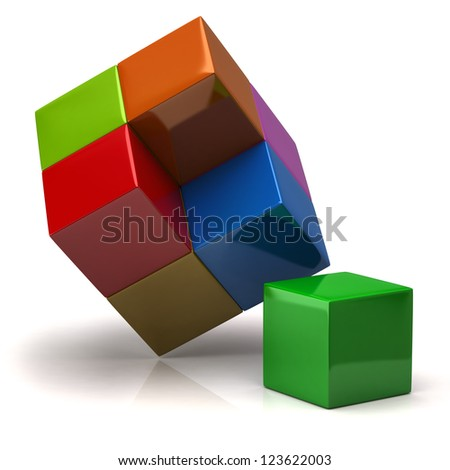 Creative business concept. 3d colorful cubes.