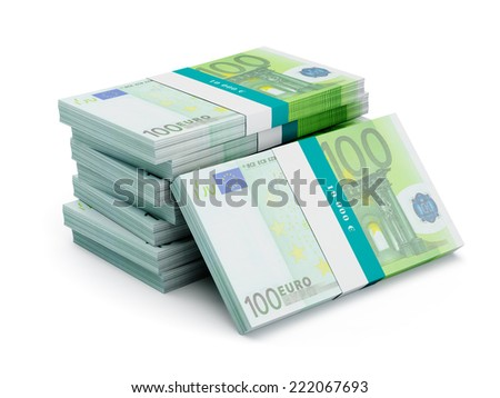 Creative business finance making money concept - stack of 100 euro banknotes (bills) bundles isolated on white background