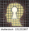 Creative freedom key with a human head light glowing on a brick wall through a prison cage opened with a keyhole shape as a business and mental health concept searching for innovative solutions. - stock vector