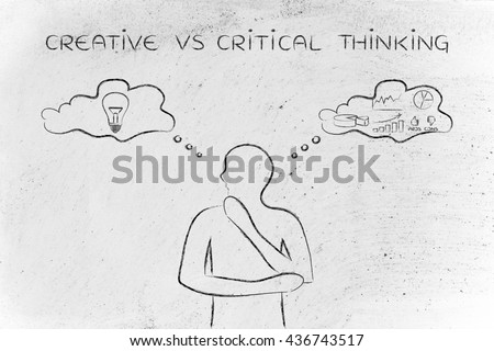 creative vs critical thinking: thoughtful man elaborating intuitive thoughts (right side of his brain) and analytical reasonings (his left side)