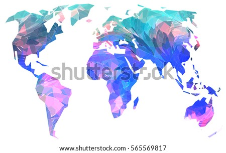 World map purple retro art background stock illustration 49067263 creative world map bright variegated colors of the continents on white background gumiabroncs Images