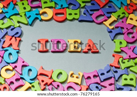 Creativity concept with idea word on background