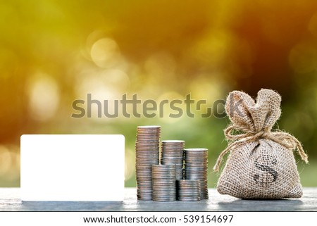 Credit card and stacking gold coins with growing and money bag put on plank  in the public park, loans concept.