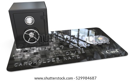Credit Card Security. 3D render of Credit Card with a Black Steel Safe. Generic names and numbers, non branded.