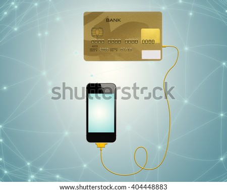 Credit cards connect with mobile phone for e-commerce