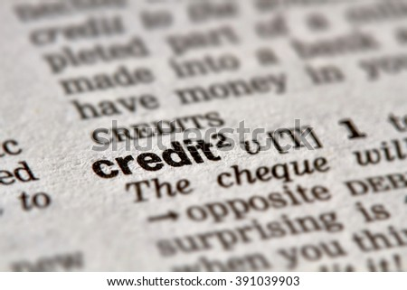 Credit Word Definition Text in Dictionary Page