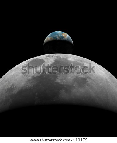 Crescent Earth rising over a Crescent Moon. No Stars in Background. Computer generated 3D image.