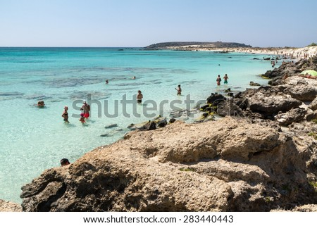 Crete, Greece: 26 August 2014. Coast of Crete island in Greece. Sandy beach in famous Elafonisi (or Elafonissi).Crete, Greece