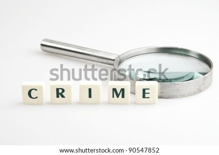 Crime word and magnifying glass