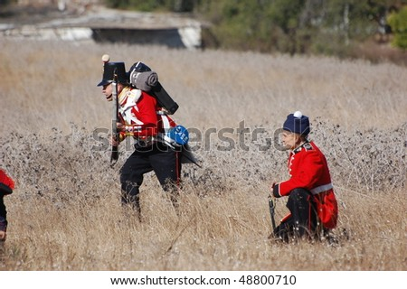 CRIMEA, UKRAINE - SEPTEMBER 26: Members of military history club Red Star wears British historical uniform during historical reenactment of Crimean War September 26, 2009 in Crimea, Ukraine