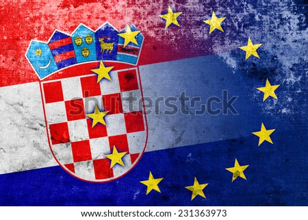 Croatia and European Union Flag with a vintage and old look