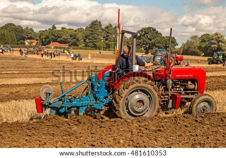 Crockey Hill York England 08 September 2016 Anthony Retallack Cornwall in the National Vintage Ploughing Championship-Hydraulic at the British Ploughing Championships 2016 using an MF35 & Ransome TS59