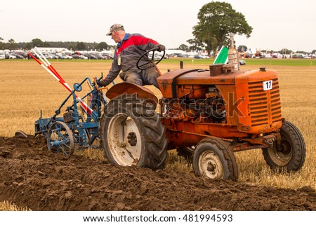 Crockey Hill, York, England 08 September 2016 Cyril McGuinnes Republic of Ireland competing in the Vintage Trailing Plough class of the World Ploughing Contest driving a Fordson Dexta & Ransome TS59