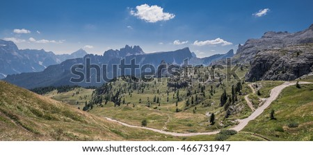 Croda da Lago,  a small mountain chain on the Central Dolomites and east of Giau Pass with Cima d'Ambrizolla highest peak as seen from Cinque Torri to Nuvolau refuge trekking trail, Veneto, Italy