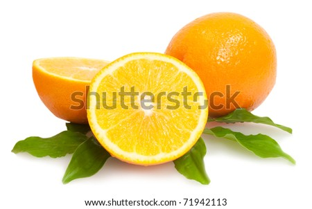 cropped and whole oranges with green leaves isolated on white background