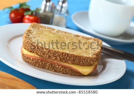 Croque Monsieur. Baked wholewheat bread sandwich filled with ham and cheese and grated cheese on top (Selective Focus, Focus on the front edge of the sandwich)