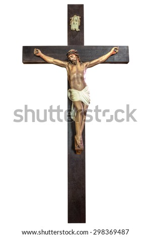 Cross of Jesus Christ isolated on white background. Easter concept.