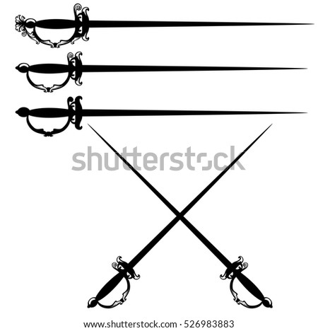 crossed epee swords black and white design set.