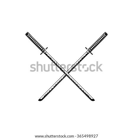 Crossed Samurai Swords Isolated On White Stock Vector ...