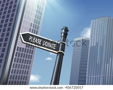 crossroad 3d black road sign saying please donate
