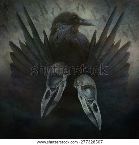 Crow Spirit design with head, skulls, black wings and bird flock in flight emerging from a dark, sinister atmospheric background.