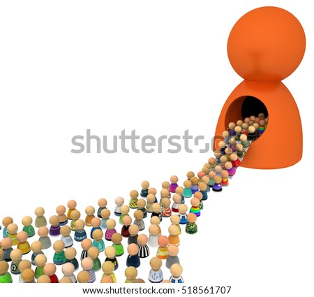 Crowd of small symbolic figures with big figure, 3d illustration, horizontal