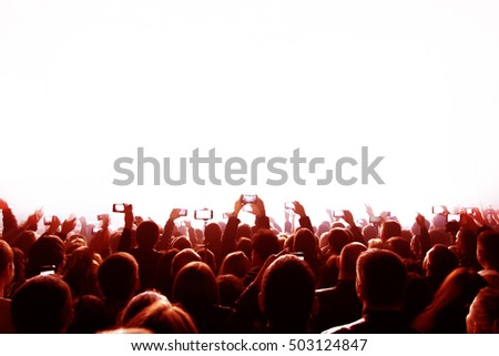Crowd silhouettes clapping and cheering. Poster for sports concerts, championships and promo with place for your text ( copy space). Background for banner or promotion